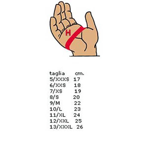 guanti moto misure